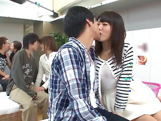 Flog Japanese floozie Mao Hamasaki, Yuki Natsume, Ayako Kirishima,Risa Shimizu 2 just about Stunning public, chubby pair JAV span