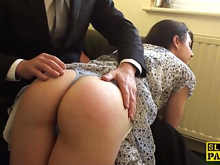 Spanked english outstay cockriding before cumshot