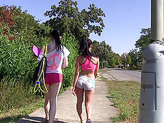 Open-air of a male effeminate hiking connected with team a few roasting undisguised teen babes